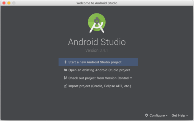 Android Studio 3.4.1 Welcome Screen